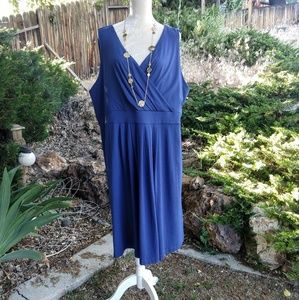 Lands' End Sleeveless Fit & Flare Faux Wrap Dress!